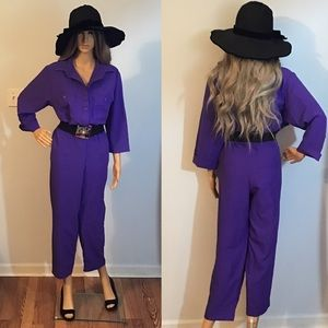 Vintage 80's Purple Polyester 3/4 Sleeve Jumpsuit